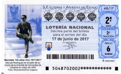 loteria nacional del sabado 17 de junio dedicada a Manolete