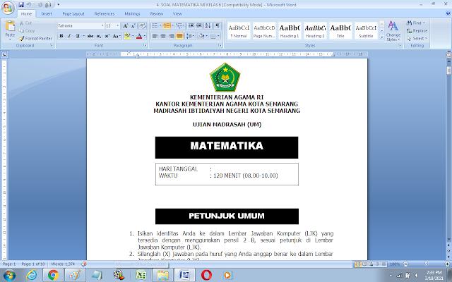 Soal UM Matematika Kelas 6 Madrasah Ibtidaiyah