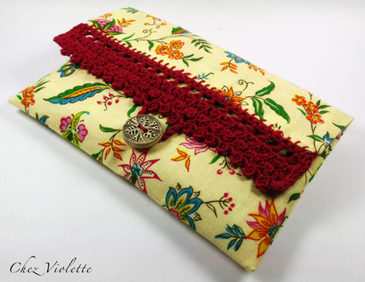 Floral bag clutch purse edging Lace crochet by Chez Violette
