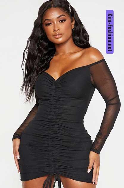 Shape Black Mesh Ruched Bardot Bodycon Dress