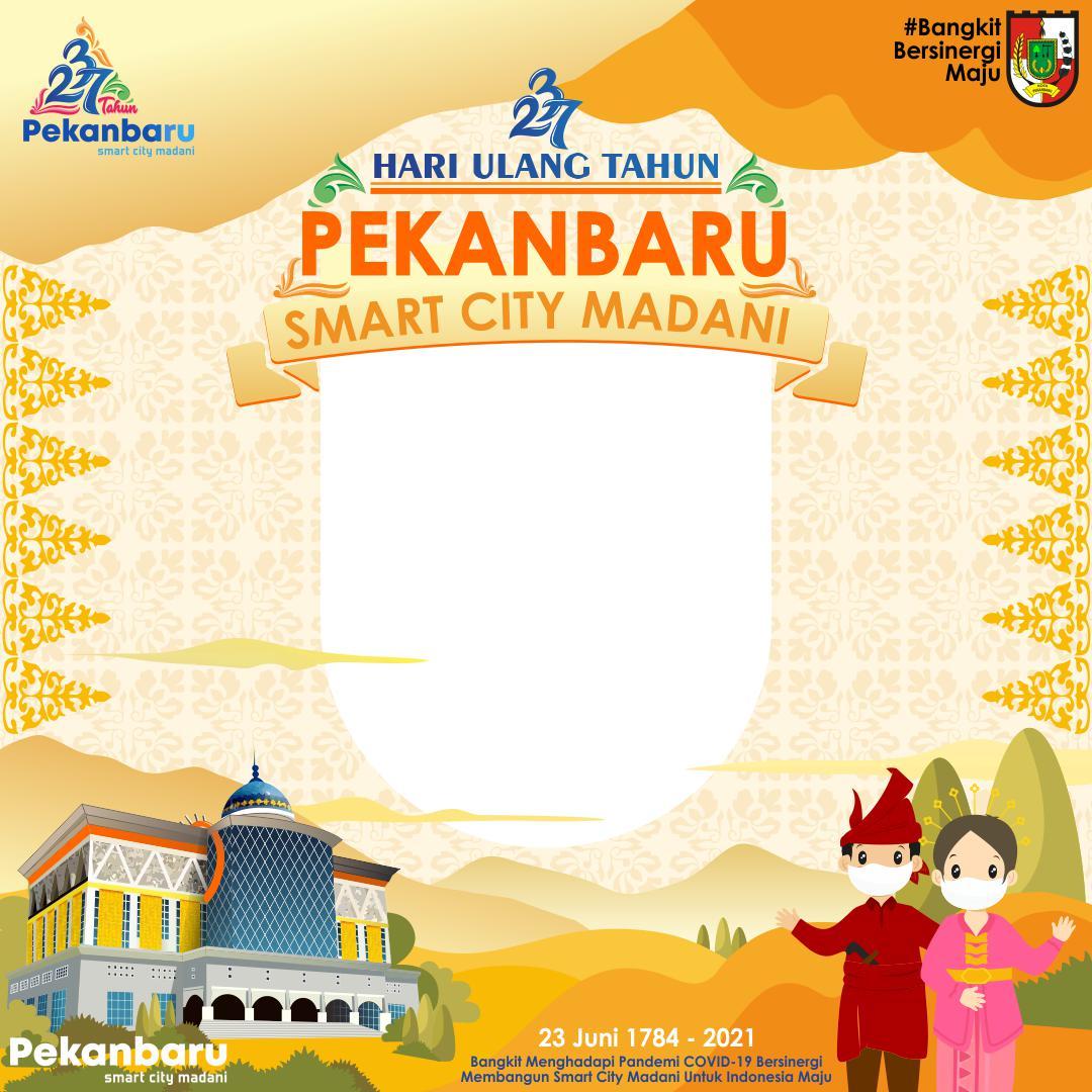 Background Bingkai Keren Twibbon Hari Ulang Tahun Kota Pekanbaru 2021