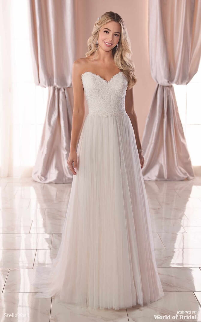 be706ecac3 Stella York Spring 2019 Casual Wedding Dress with Matte Lace Bodice
