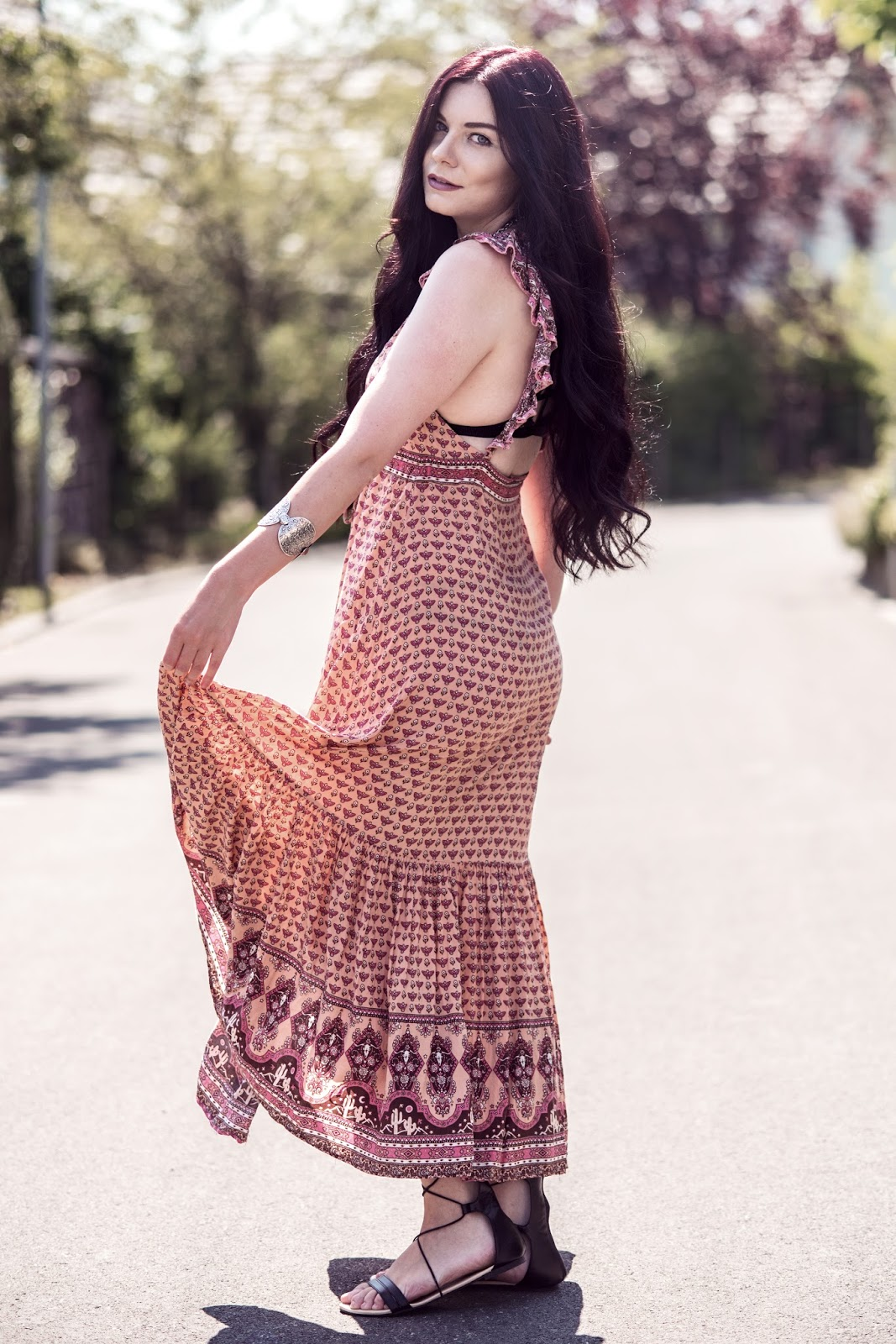 Spell Designs Sunset Road Frill Maxi Dress | Boho Dress Summer Outfit | Rose Kiara Peaches