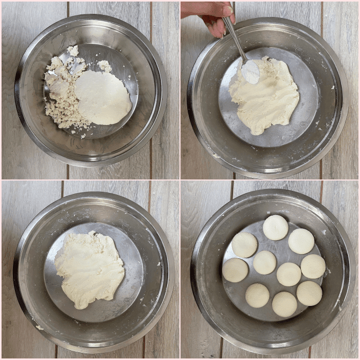 Chenna in a plate, adding corn flour, kneaded dough, paneer balls in a plate