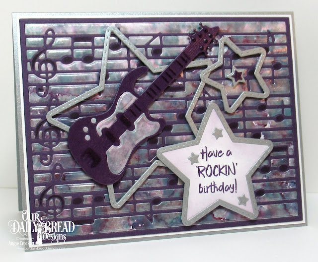 ODBD Jesus Rocks, ODBD Custom Musical Notes Background Die, ODBD Custom Guitar Dies, ODBD Custom Double Stitched Stars Dies, ODBD Custom Sparkling Stars Dies, Card Designer Angie Crockett