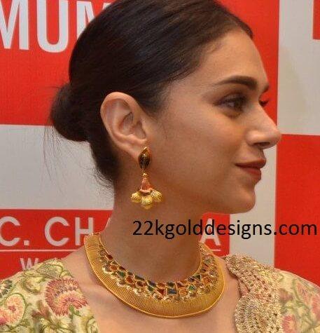 Aditi Rao Hydari In Pc Chandra Necklace 22kgolddesigns