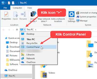 control panel, this pc, file explorer