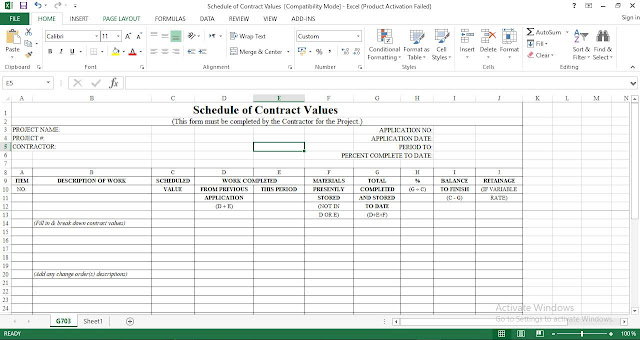 Download Schedule of Contract Values ُExcel Template
