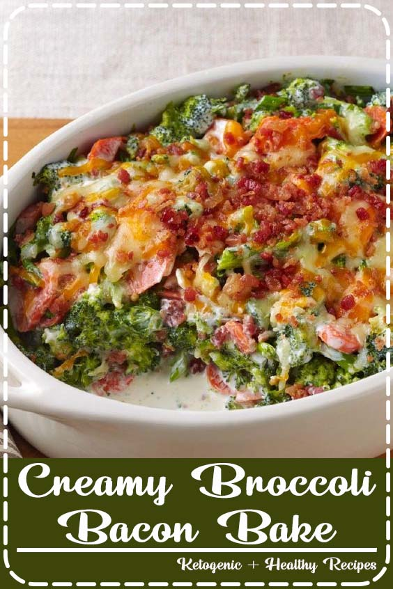 Shredded Cheddar cheese and bacon bits give our tasty broccoli bake recipe its creamy Creamy Broccoli-Bacon Bake