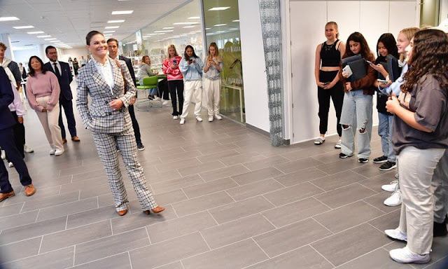 Crown Princess Victoria wore Karah blazer and Rosetta pants from By Malina, and gold flower dress from Dagmar