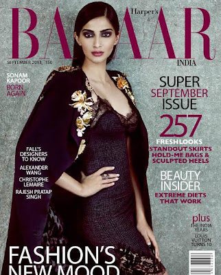 Sonam Kapoor on the cover of Harper's Bazaar Sept 2013 issue