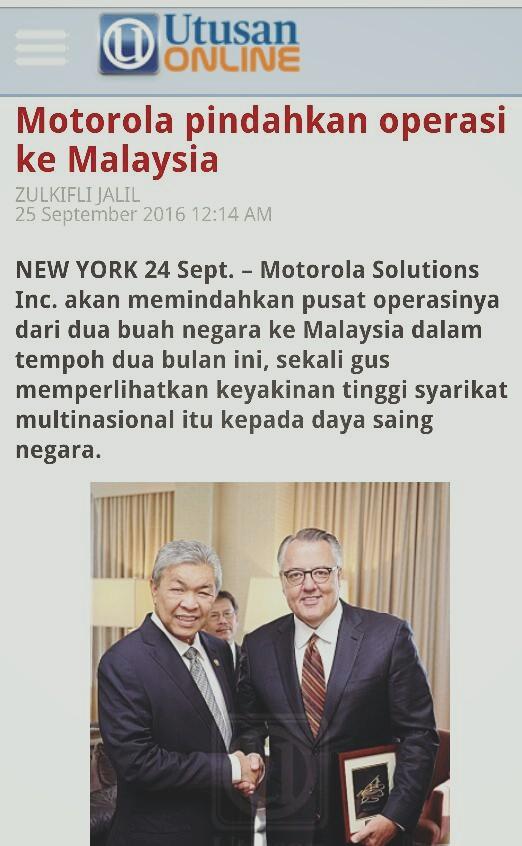 Negara Tak Jadi Bangkrap, Motorola Pindah Operasi Dua Negara Ke Malaysia