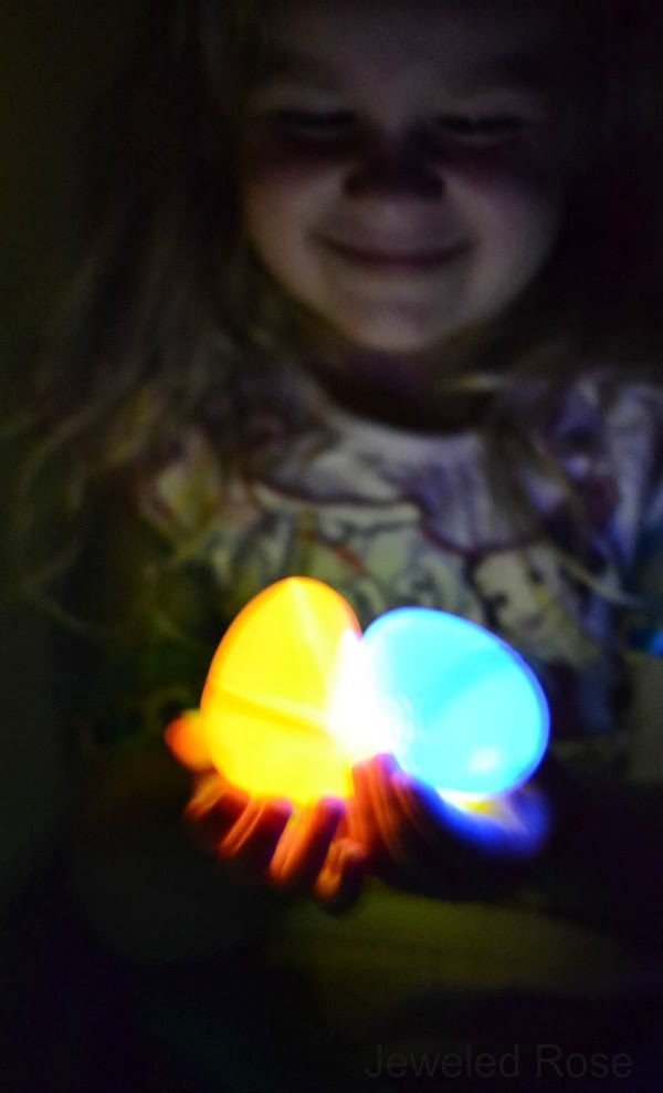 Glow in the dark egg hunt with magical glowing eggs