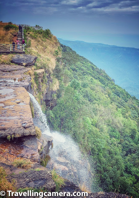Cherrapunji is approximately 55 kilometers from Shillong and it takes approximately 2 hours to reach Cherrapunji from Shillong assuming there are lot long breaks on the way. The drive is very beautiful with clouds roaming around the lush green hills of Meghalaya, so you may get tempted to stop your vehicle multiple times on the way. Apart from the cloud play, you would find that mountains in this part of the country are different than what you see in North or South. These mountains look flat on the top like what you see i Grand Canyon (not sure how good comparison is this, because one is dry area and other is full of greens)