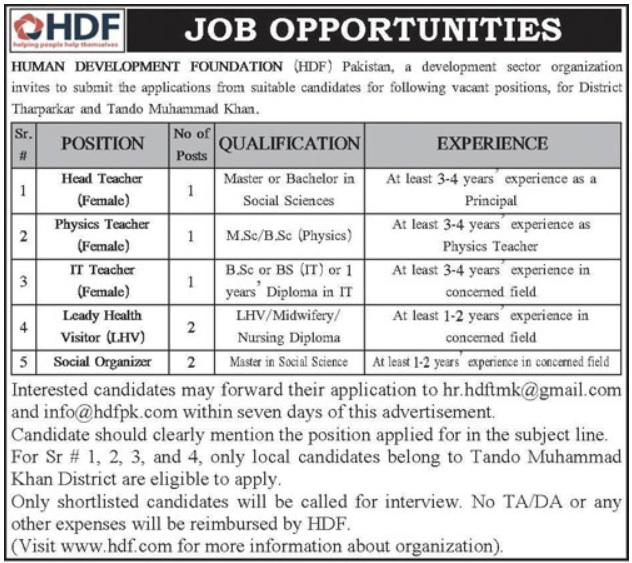 Teaching Jobs in a Development Sector Organization of Human Development Foundation HDF NGO Jobs 2020