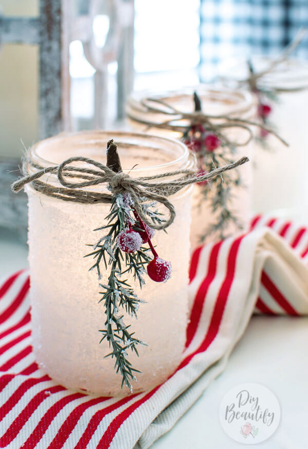 sugared berries and frosted mason jars