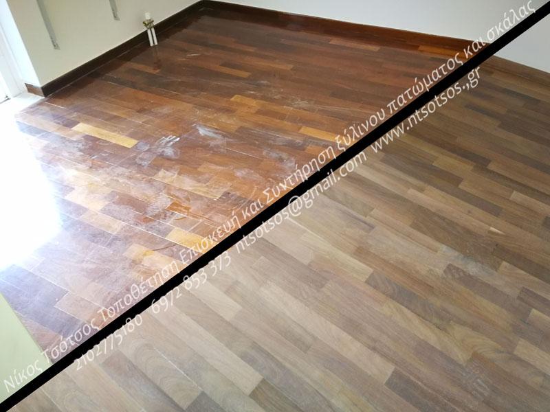 Αλλαγή χρώματος σε ιρόκο ξύλινο πάτωμα και γυάλισμα με ματ βερνίκι