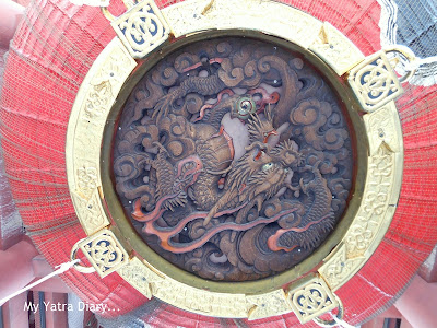 The bottom of the red colored lantern at the Kaminarimon Gate, Sensoji Temple, Tokyo