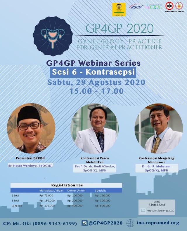 G4GP 2020 Webinar Series Sesi 6-Kontrasepsi  Sabtu, 29 Agustus 2020 (15.00-17.00 WIB)