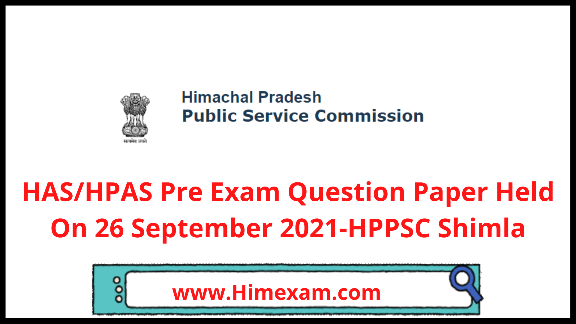 HAS/HPAS Pre Exam Question Paper Held On 26 September 2021-HPPSC Shimla