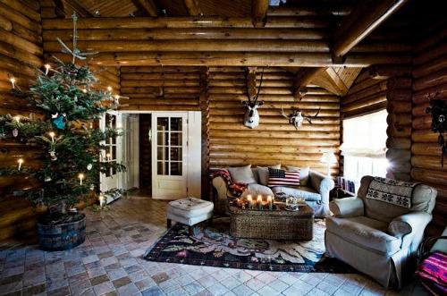 Una pizca de hogar caba a r stica y n rdica - Salones decorados para navidad ...