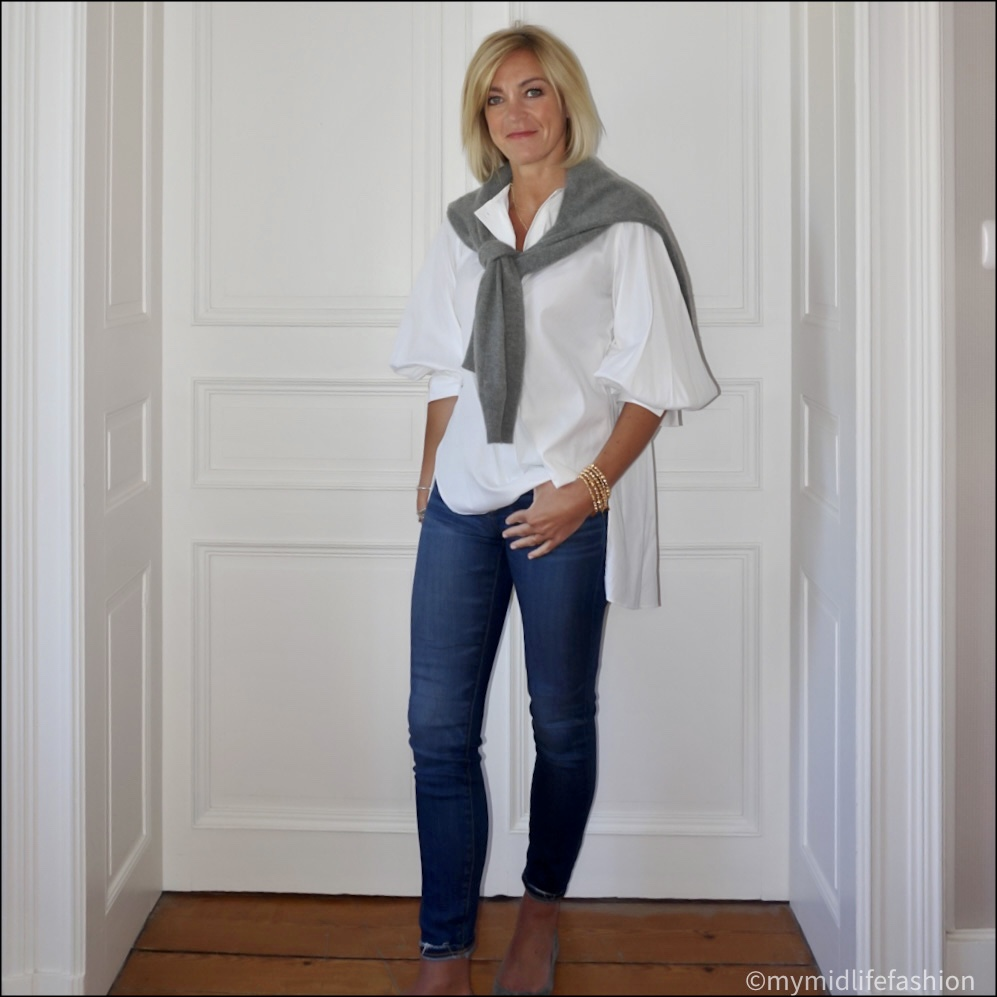my midlife fashion, Zara crew neck cashmere jumper, Massimo Dutti oversized blouse, j crew 8 inch toothpick jeans, h and m cut out ballet flats