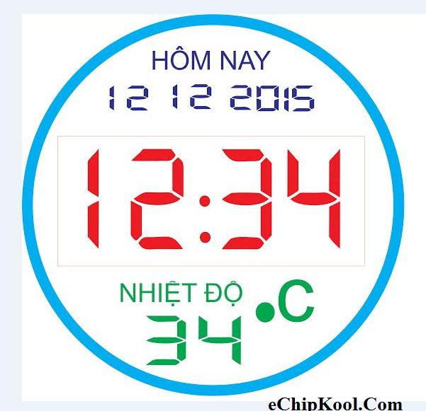 Đồng hồ 60 led viền Ngày Tháng Năm - Giờ : Phút - Nhiệt độ