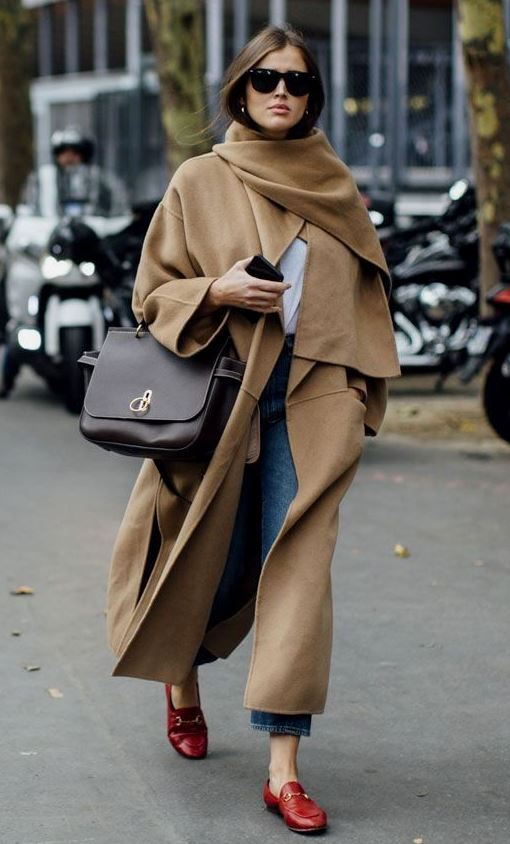 awesome outfit for this winter / scarf + brown coat + bag + jeans + red loafers