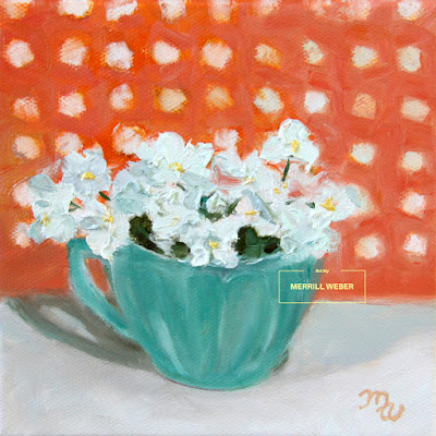 Oil painting of tiny white flowers, sitting cozily in a turquoise teacup against a background of polka dots by Merrill Weber