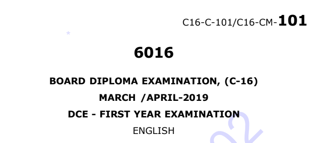 Sbtet Diploma c16 English Previous Question Paper March/April 2019