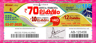 Kerala Lottery Results 03-07-2020 Nirmal NR-180 Lottery Result-keralaotteries.net
