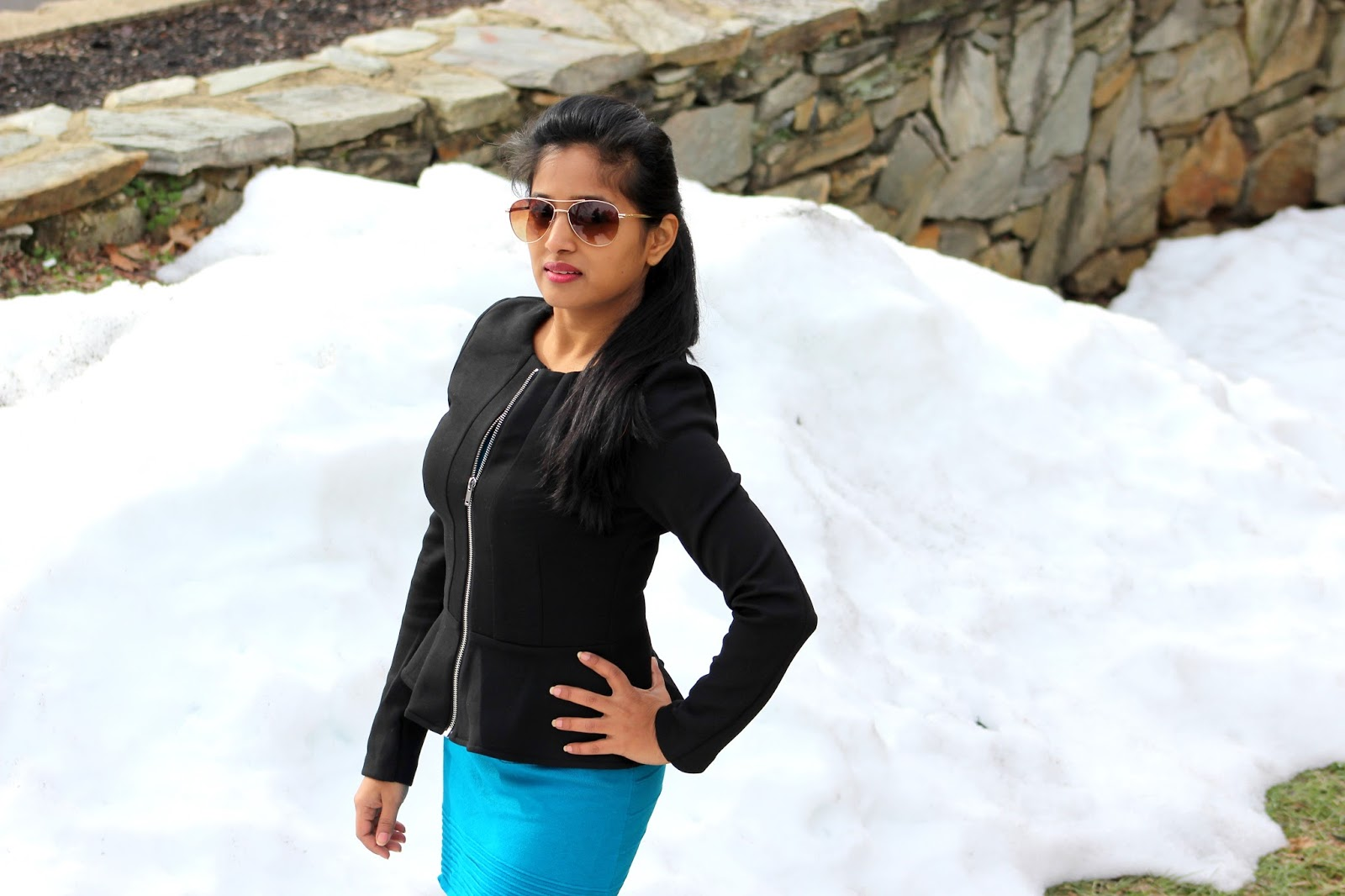 peplum jacket, winter fashion, seattle fashion blogger, dress with a jacket, indian girl , knee high boots
