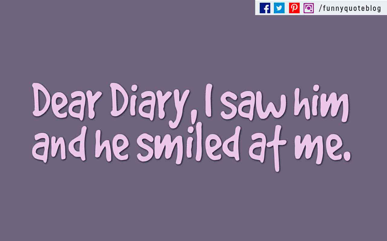 """Dear Diary, I saw him and he smiled at me."" ??"