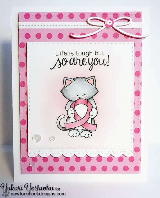 Kitty with pink Ribbon card by Yukari Yoshioka |  Newton's Support stamp set by Newton's Nook Designs #newtonsnook