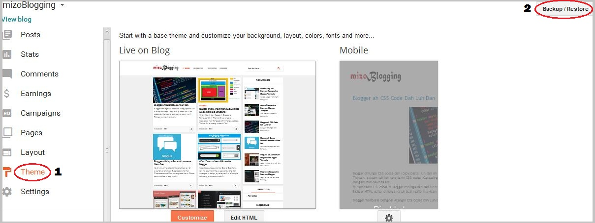mizo blogger theme install dan