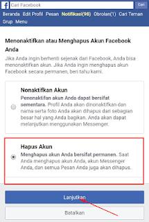 Penonaktifan dan Penghapusan FB
