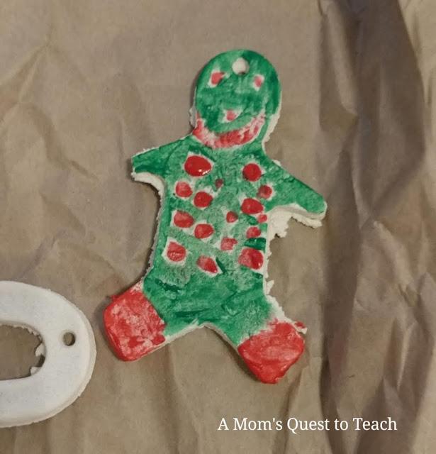 Gingerbread cookie salt dough ornament painted