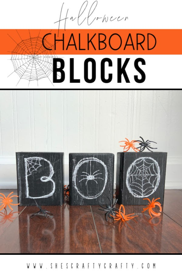 Chalkboard Blocks for Halloween  |  Make these easy and inexpensive blocks to add to your Halloween Home Decor