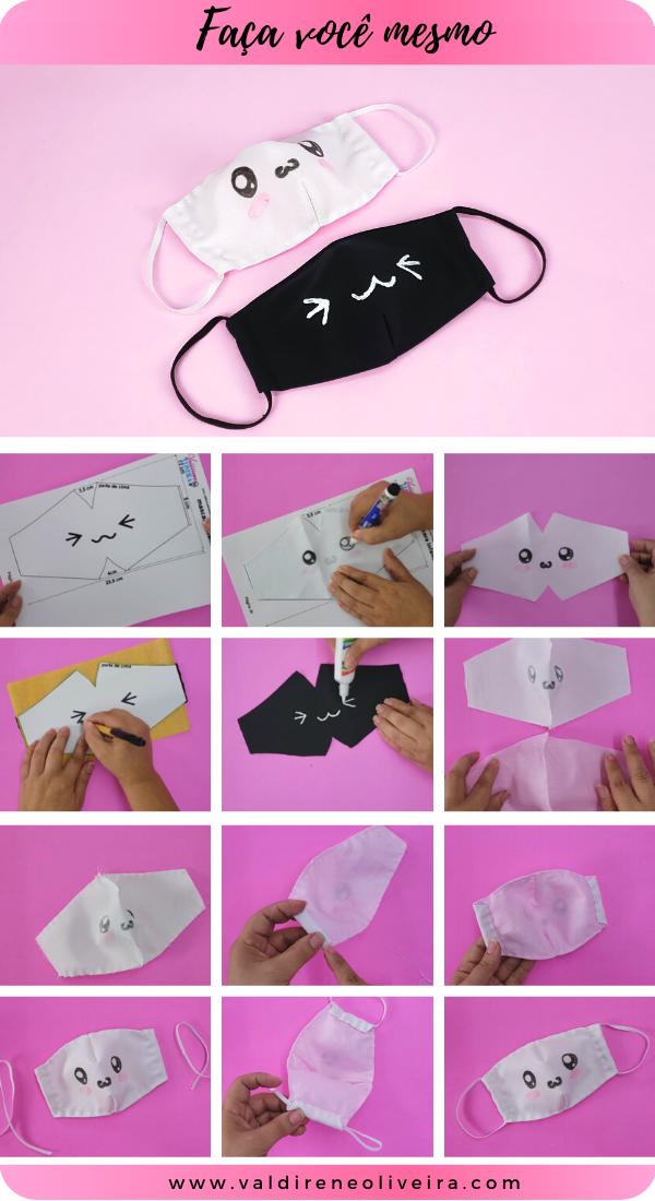 faca você mesmo  mascara de tecido kawaii
