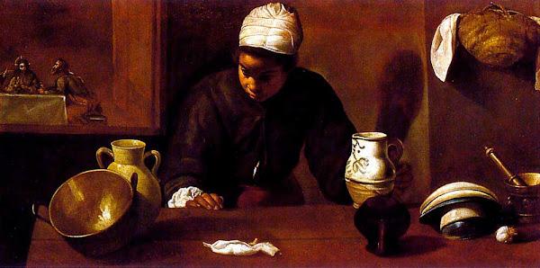 Диего Веласкес - Кухня. Сцена ужинв в Эммаусе (1618)