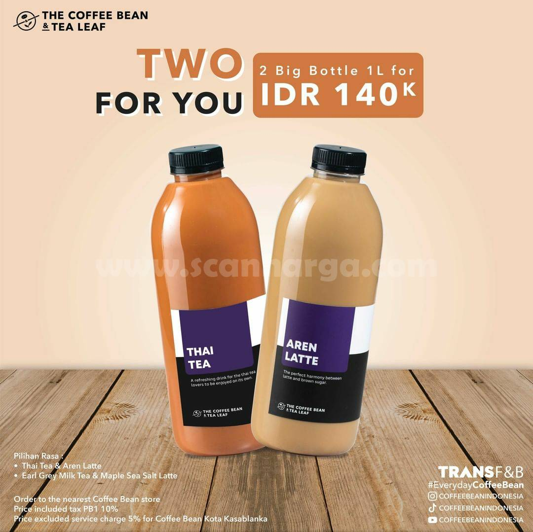 Promo Coffee Bean Beli Minuman 2 Botol Besar 1 Liter hanya Rp. 140.000