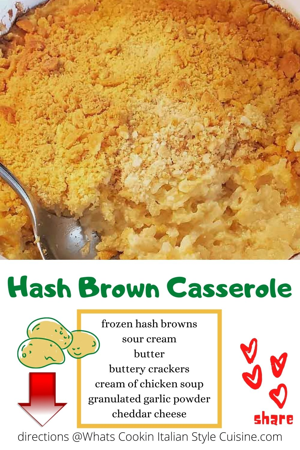 this is a hash brown casserole pin for later recipe