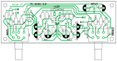 PCB of the tone controller (stereo)