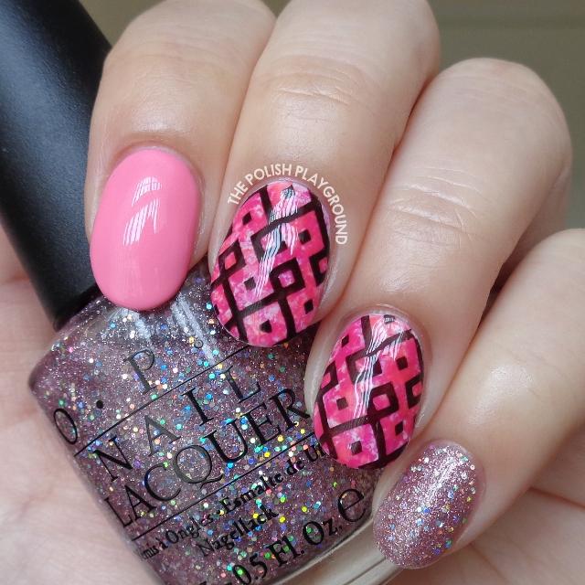 Pink Saran Wrap with Black Geometric Stamping Nail Art