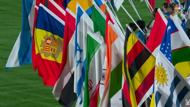 Tokyo 2021 Olympic Closing Ceremony flag nations parade Israel Uruguay