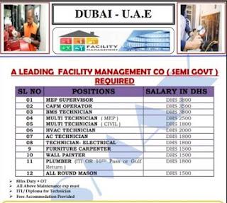 Emirates National Facilities Management LLC Jobs Vacancies MEP Technician, Electrician, AC Technician, Mason, MEP Team Leader, Plumber In UAE