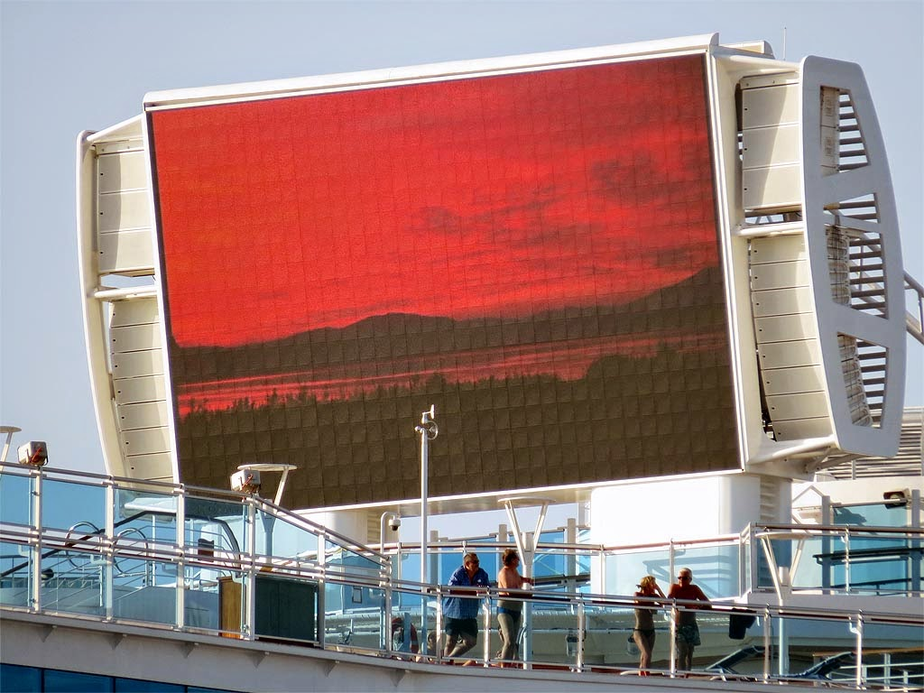 Big screen, Regal Princess cruise ship, IMO 9584724, port of Livorno