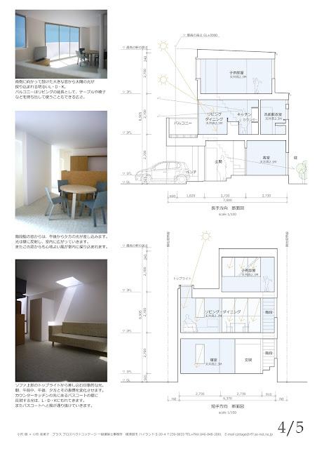 光と風のシークエンスをもたらす三階建ての家 内観イメージ 断面計画