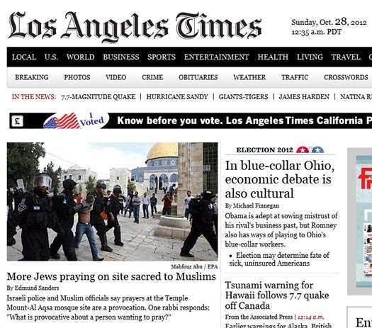 Los Angeles Times: Love Of The Land: The LA Times And Temple Mount Provocations