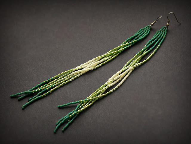 длинные зеленые серьги купить украшения из бисера ручной работы
